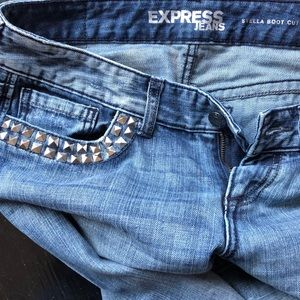 Express Jeans - Express Stella Studded Distressed Boot Cut Jeans 8